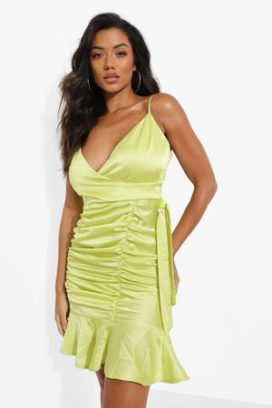 Boohoo Womens Satin Ruched Detail Mini Dress - - 2
