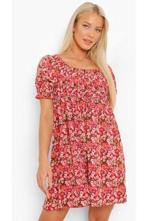 Boohoo Womens Maternity Shirred Puff Sleeve Mini Dress - 4