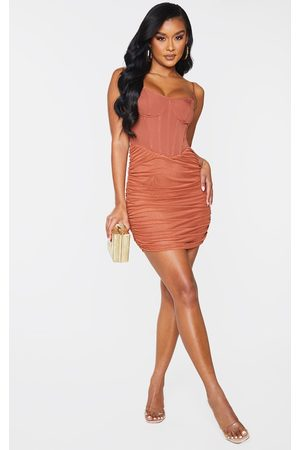 PRETTYLITTLETHING Women Bodycon Dresses - Rust Strappy Corset Detail Mesh Ruched Skirt Bodycon Dress