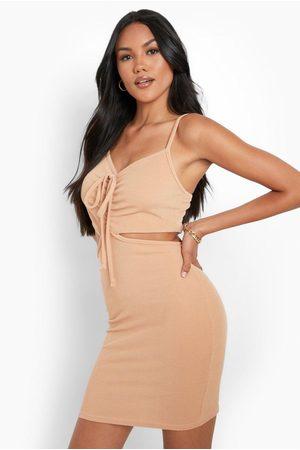 Boohoo Womens Rib Cut Out Bodycon Mini Dress - - 2