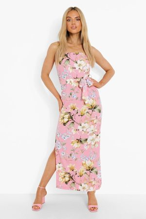 Boohoo Womens Floral Bandeau Belted Maxi Dress - - 4