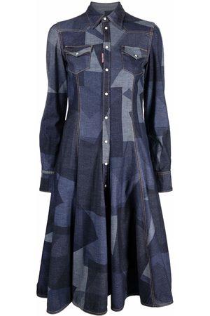 Dsquared2 Women Casual Dresses - Geometric-print denim shirtdress