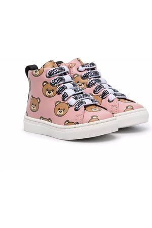 Moschino Girls Sneakers - Teddy Bear motif high-top sneakers