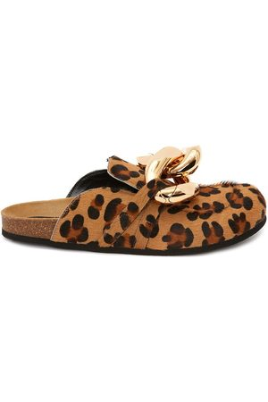 JW Anderson Chain-embellished leopard loafers