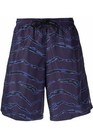 MARCELO BURLON Men Swim Shorts - ALL OVER CAMOU BOARDSHORTS DARK BLU