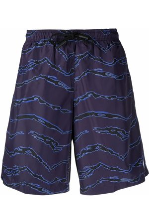 MARCELO BURLON Men Swim Shorts - Motif-print swimming shorts