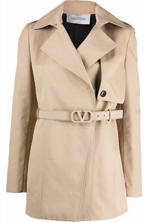 VALENTINO Women Trench Coats - Short gabardine trench coat - Neutrals