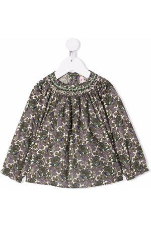 BONPOINT Baby Blouses - Floral-print cotton blouse - Neutrals