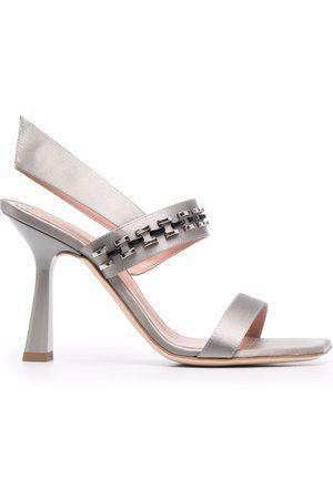 Alberta Ferretti Women Sandals - Chain-detail leather sandals - Grey