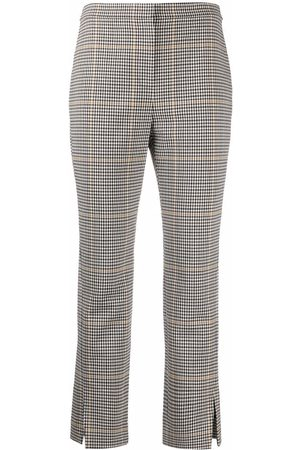 THEORY Women Straight Leg Pants - Plaid straight-leg trousers - Neutrals