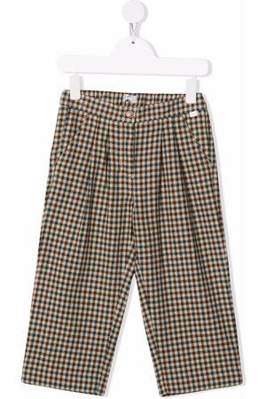 Il gufo Girls Straight Leg Pants - Checked straight-leg trousers - Neutrals