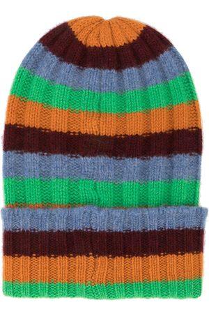 THE ELDER STATESMAN Striped-knit cashmere beanie - Multicolour