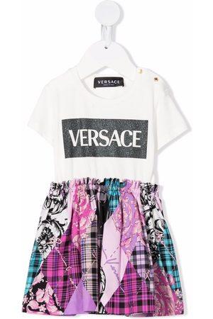 VERSACE Logo-print patchwork dress