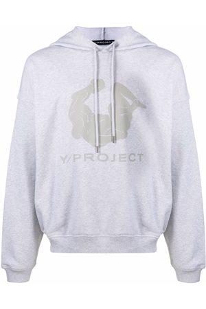 Y/Project Men Hoodies - Logo-print cotton hoodie - Grey