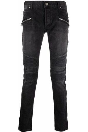 Balmain Men Skinny - Ribbed panels slim-fit jeans