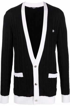 Balmain Logo-embroidered cable-knit cardigan