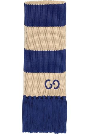 Gucci Men Scarves - Thin striped GG-logo knitted scarf - Neutrals