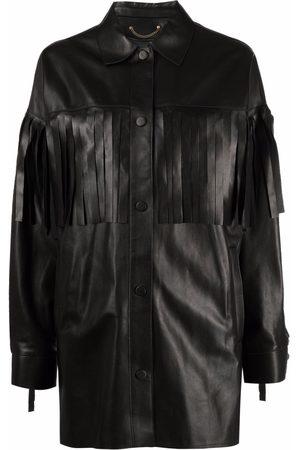 Golden Goose Women Leather Jackets - Fringe-trimmed leather jacket