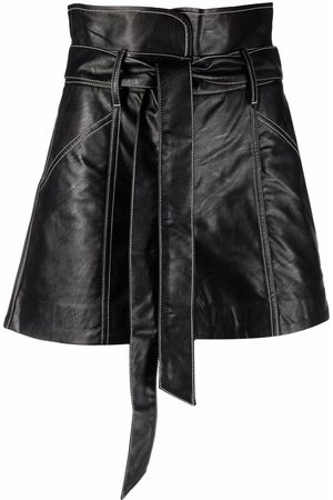 Twin-Set Women Leather Skirts - Leather-look wrap skirt