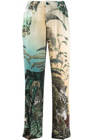 F.R.S For Restless Sleepers Women Straight Leg Pants - Leaf-print straight silk trousers