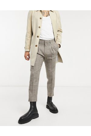 ASOS Men Chinos - Tapered cropped smart pants in check with double pleat-Neutral