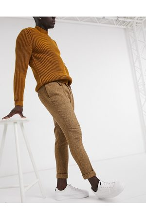 ASOS Men Chinos - Tapered wool mix smart pants in camel-Neutral