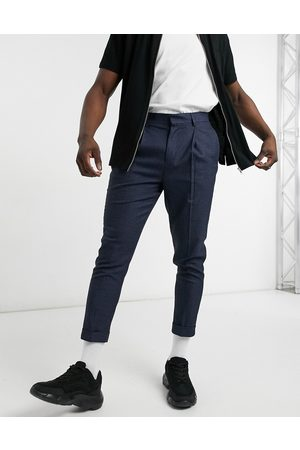 ASOS Men Chinos - Tapered smart pants in dog tooth with turn up-Navy