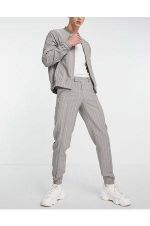 ASOS Men Chinos - Skinny smart sweat-style pants in slate pinstripe - part of a set-Grey