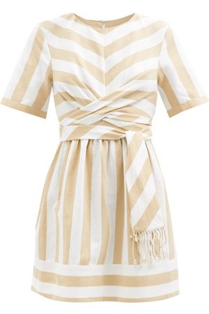 Staud York Striped Cotton-blend Mini Dress - Womens