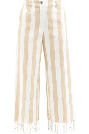 Staud Women Straight Leg Pants - Zuma Striped Cotton-blend Straight-leg Trousers - Womens