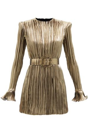 Andrew Gn Pleated Silk-blend Lamé Mini Dress - Womens
