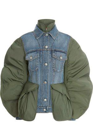 Alexander McQueen Women Denim Jackets - Curved-sleeve Denim And Shell Jacket - Womens - Khaki Multi