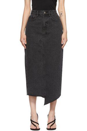 KSUBI Black Denim Jagged Skirt