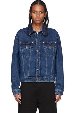 VERSACE Indigo Denim Embroidered Logo Jacket