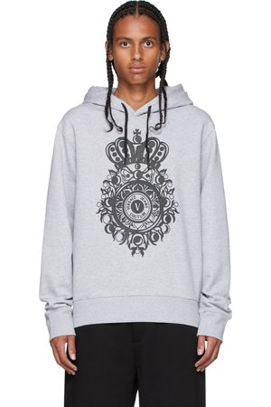 VERSACE Grey V-Emblem Hoodie