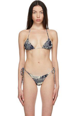 Miaou Off-White & Navy Kauia Bikini Top
