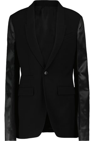 Rick Owens Leather-trimmed wool-blend blazer