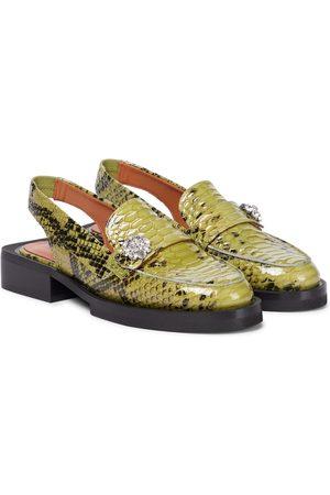 Ganni Snake-effect leather slingback loafers