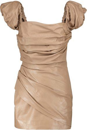 Zeynep Arcay Off-shoulder leather minidress