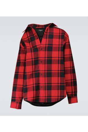 Balenciaga Off-shoulder checked shirt