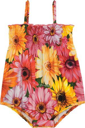 Dolce & Gabbana Baby floral cotton poplin playsuit