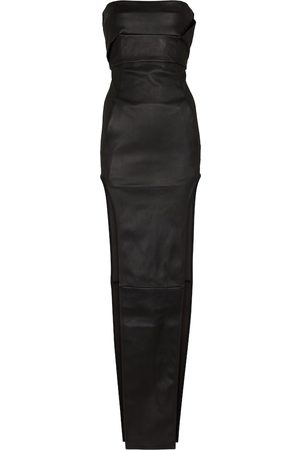 Rick Owens Lilies strapless leather and cotton gown