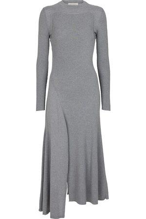 Alexander McQueen Asymmetric wool and cashmere midi dress