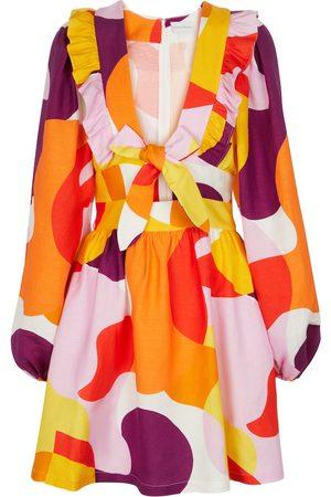 Rebecca Vallance Del Rio printed linen-blend minidress