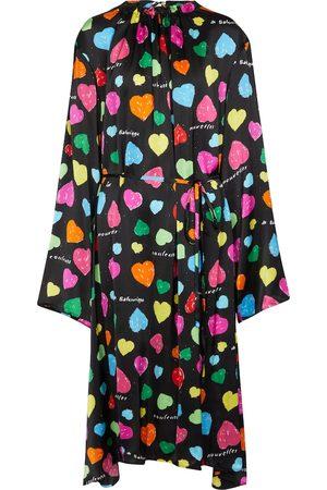 Balenciaga Archive Hearts printed silk midi dress