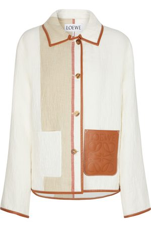 Loewe Leather-trimmed linen and cotton jacket