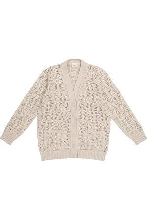 Fendi FF cotton-blend pointelle cardigan