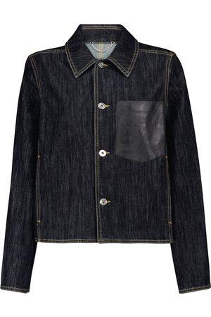 Salvatore Ferragamo Leather-trimmed denim jacket