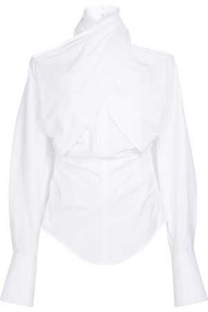 MUGLER High-neck stretch-cotton shirt