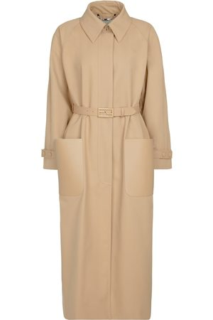Fendi Leather-trimmed trench coat